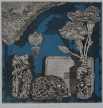 """Still Life with Carnation (Blue)."" Etching with chine collé, 2013."