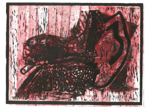 """The Inner Ear,"" 2011 relief with collagraph"