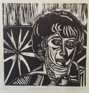 """Melancholy Woman,"" woodcut editioned 2014"