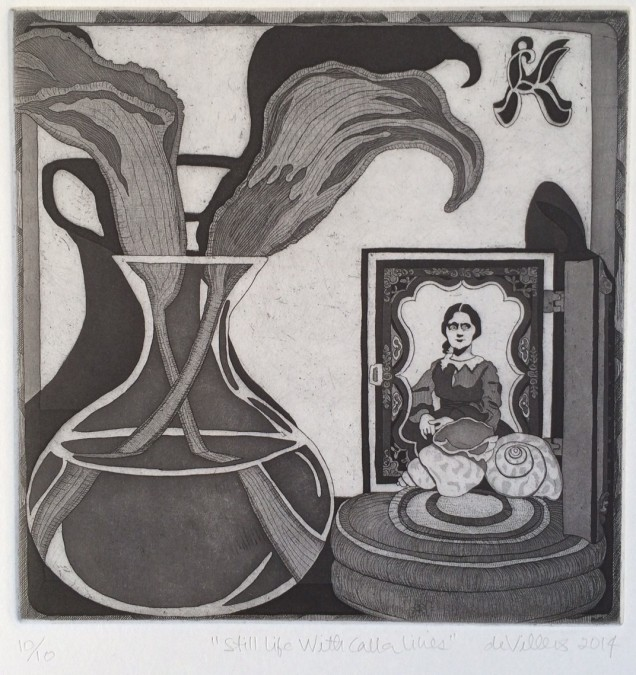 """Still Life with Calla Lilies."" Etching, 2014."