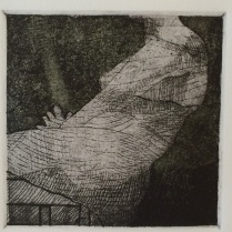 "Detail from ""Three Women."" Etching with chine collé, 2013."