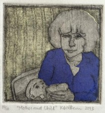 """Mother and Child."" Drypoint with chine collé."